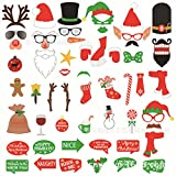 57 PCS Photo Booth Props DIY Kit Picture Accessories for Christmas Party Kids