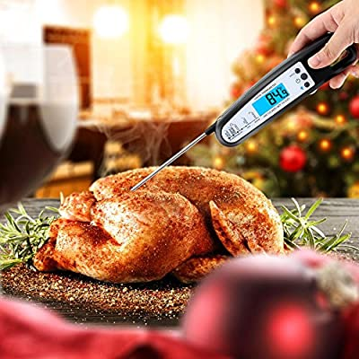 GDEALER Meat Thermometer Digital Cooking Thermometer Electronic Instant Read Thermometer Food Thermometer with Blue Backlit LCD Display,Foldable Long Probe for Kitchen Grill,Smoker,BBQ,Milk,Candy