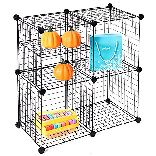 Wire Storage Cubes, MaidMAX Free Standing Modular Shelving Units Closet Organization Systems, 4 Grids with 2 Wire Dividers, Black