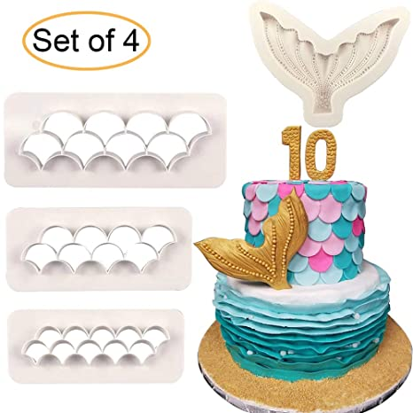 4pcs Set Mermaid Tail Silicone Fondant Mold Scale Fondant Cutter Fish Scales Pattern Geometric Embossing Biscuit Cookie Cutter Diy Mermaid Birthday
