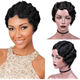 Wignee Remy Human Hair Wigs Mommy Short Finger Wave Style