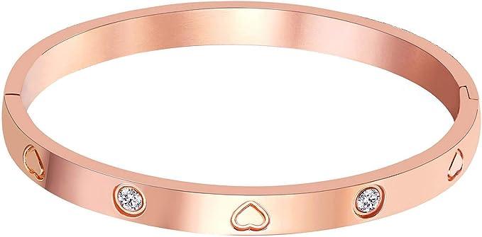 "Amazon.com: Christmas Gift MVCOLEDY Jewelry Rose Gold Plated Bangle Bracelet Stone Stainless Steel Heart Crystal Bangle Bracelets for Women Jewelry Size 6.7"": Clothing"