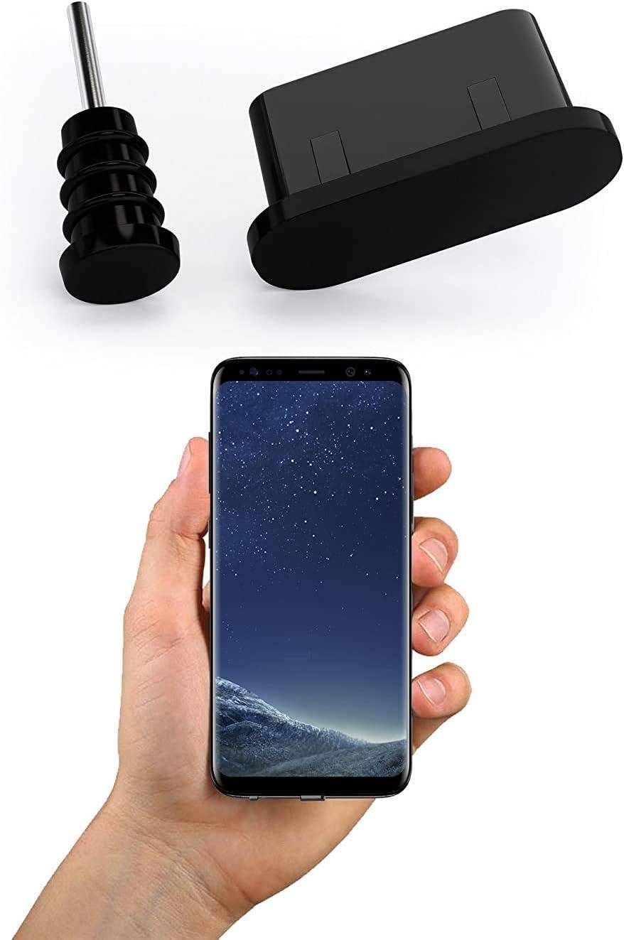 innoGadgets 10x Tapón Antipolvo Compatible con Smartphone, MacBook | Cubierta Conector USB-C y Toma Auriculares | Tapa Protectora para Samsung Galaxy | Negro