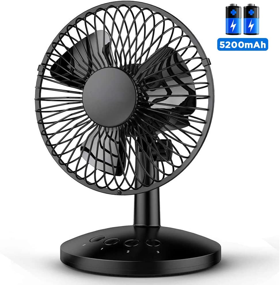 Funme Battery Oscillating Desk Fan Portable Table Fan Built-in 5200mAh Battery Personal USB Powered Floor Fan with Adjustable Head 6-16 Hours 3 Speeds Quiet Enhanced Airflow for Travel Camping Office