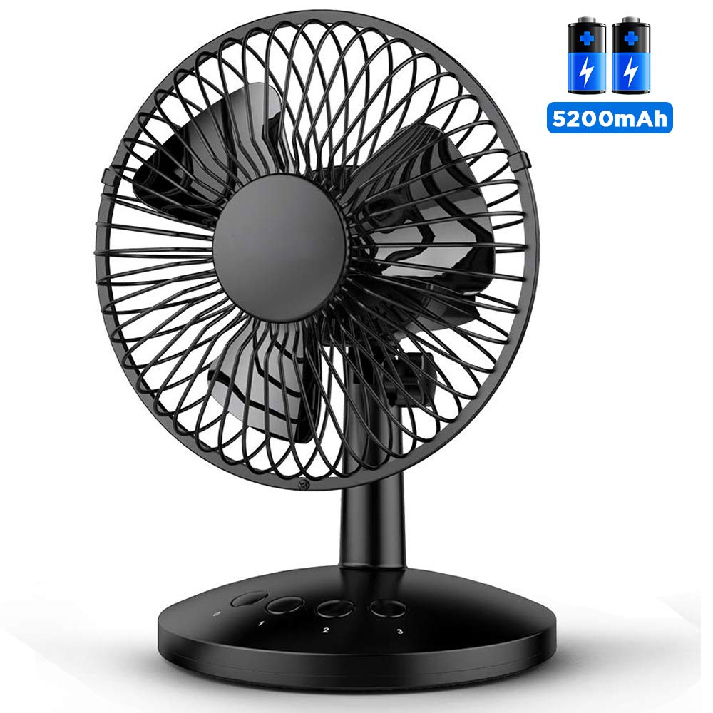 Funme Oscillating Desk Fan Portable Table Fan Built-in 5200mAh Battery Personal USB Powered Floor Fan with Adjustable Head 6-16 Hours 3 Speeds Quiet Enhanced Airflow for Travel Camping Office (Black) by Funme