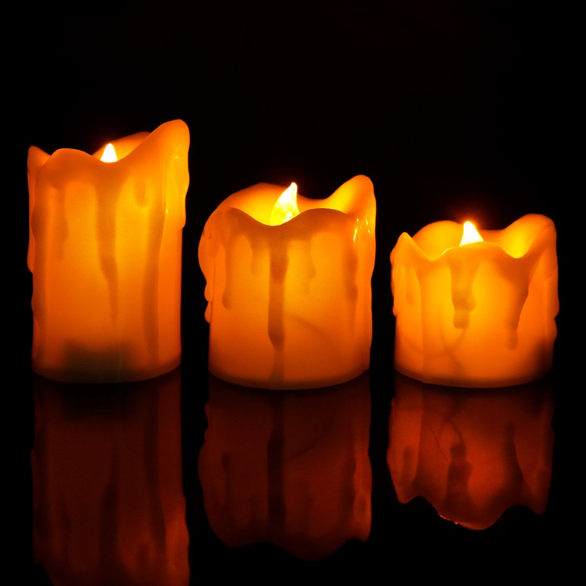 Cozeyat Flameless Candles AAA Battery Operated, 3 Assorted Sizes Advent Led Teallight Ivory White Flickering Candles Luminara Christmas Thanksgiving Home Decoration
