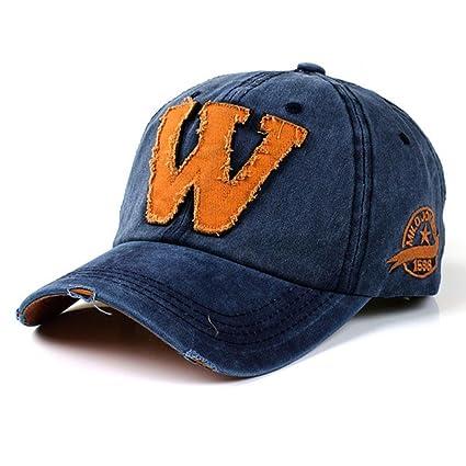 2a92234de3e3 QuickZ SnapBack sombreros Unisex verano letra W Hockey béisbol Gorras Hip  Hop gorros (azul)