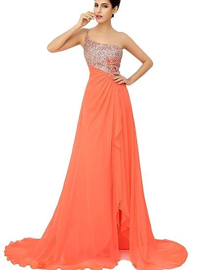 Sarahbridal Womens Long Split Side One Shoulder Sequins Chiffon Prom Dresses Party Cocktail Dress SXU014 Orange