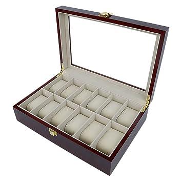 Chen Rui (TM) Caja para Relojes Estuche Organizador Joyero Joyas con 6/12 Compartimientos Rojo-Marrón (12 compartimientos): Amazon.es: Hogar