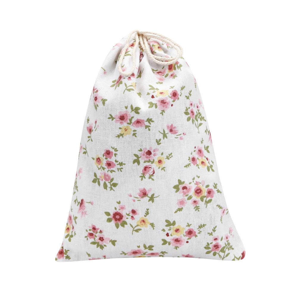 Freeby Portable Travel Dust-Proof Waterproof Organizer with Drawstring, Non-Woven Floral Print Clothes Storage Pouch Bag (Multicolor, L)
