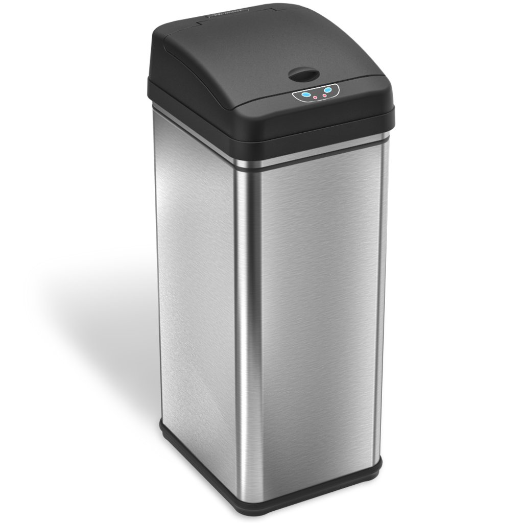 iTouchless 13 Gallon Stainless Steel Automatic Trash Can with Odor-Absorbing Filter, Wide Opening Sensor Kitchen Trash Bin, Powered by Batteries (not included) or Optional AC Adapter (sold separately) by iTouchless