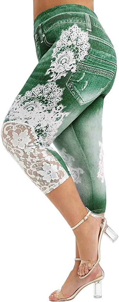 Women Casual Fashion Plus Size Lace Printing Splice Elastic Waist Leggings Pants