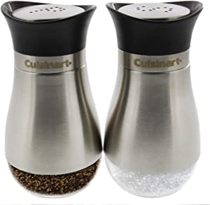 Cuisinart Salt and Pepper Shakers Set, 4 ounces - Easy to Fill Salt and Pepper Shaker Set with Clear Bottom- Durable Glass Great for Storing Salt and Pepper, Spices and Seasonings