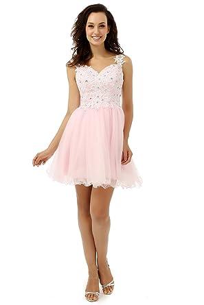 88e51639da Newdeve Lace Appliques Short Strap Light Pink Evening Dresses for Women  Formal (4)