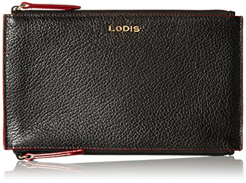 Lodis Lined Wallet (Lodis Kate Lani Double Zip Pouch Wallet, Black, One Size)