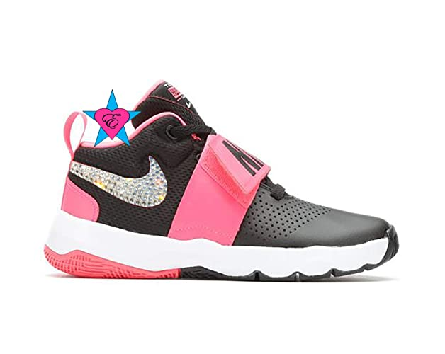 93f44f9457 Bling Shoes for Girls | Bedazzled Gray N I K E Team Hustle D8 | 3.5-7 | Basketball  Shoes