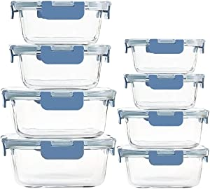 Glass Food Storage Containers Airtight, 8 Pack Meal Prep Containers with Snap Locking Lids BPA Free - Oven Microwave Dishwasher Safe