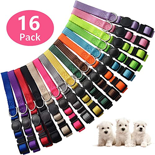 (stpiater 16 Pcs Puppy ID Collars Soft Nylon Breakaway Litter Collars Adjustable with Record Keeping Charts (M))