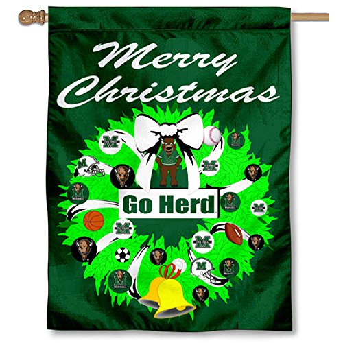 Marshall Thundering Herd Holiday Wreathバナー国旗   B00PTL0EA6, ベクトル 新都リユース bd82feea