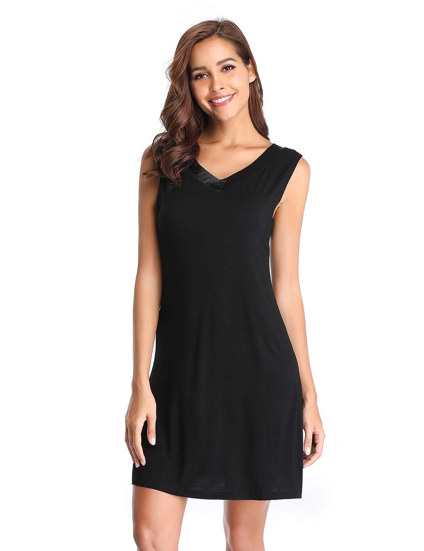 Black Lusofie Womens Sleeveless V Neck Nightgown Nightshirt Satin Trim