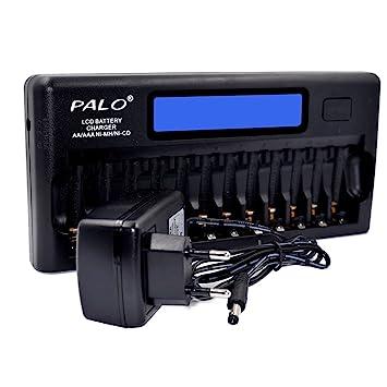 Docooler Palo PL-NC30 Cargador de Batería Inteligente Universal Pantalla LCD de 4 Pulgadas Cargador Inteligente Speedy con 12 Ranuras para Batería ...
