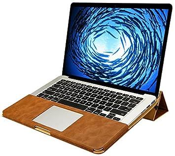 Jisoncase Diseño disipación de calor 15,4 pulgadas Apple MacBook Pro Retina 15 Funda Ordenador portátil Involucro Cuero Fieltro Manga Maletín en marrón ...