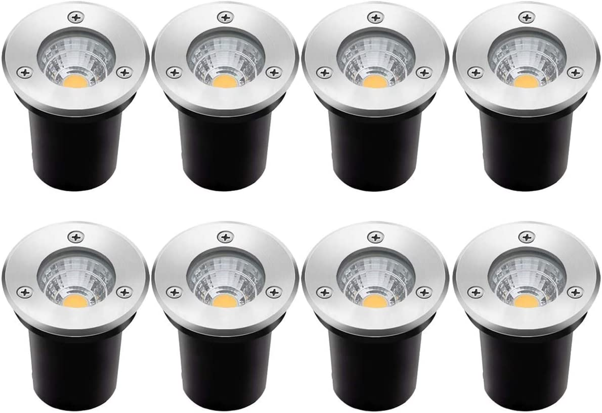 8Pack Landscape Lights LED Well Lights 6W 12V-24V Ground Lights IP67 Waterproof Low Voltage Landscape Lighting for Driveway, Deck, Step, Garden Outdoor Lighing Warm White