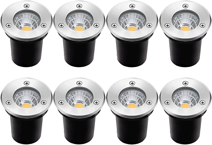 8Pack Landscape Lights LED Well Lights 6W 12V-24V Ground Lights IP67 Waterproof Low Voltage Landscape Lighting for Driveway, Deck, Step, Garden Outdoor Lighing (Warm White)