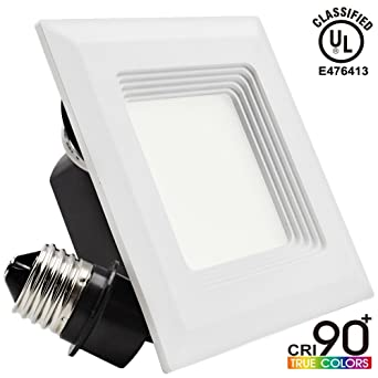 Amazon.com 9W 4-inch High CRI Dimmable Retrofit LED Recessed Lighting Fixture Square Shape 60W Halogen Equivalent 2700K Warm White UL-classified Recessed ...  sc 1 st  Amazon.com & Amazon.com: 9W 4-inch High CRI Dimmable Retrofit LED Recessed ...