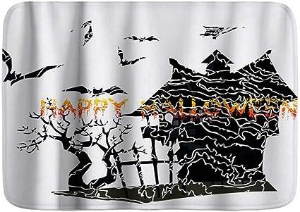 Kosalaer Badematte Happy Halloween Horror Baum Schloss Fledermause Thema Plusch Badezimmer Dekor Matte Mit Rutschfester Unterseite 75cm X 45cm Amazon De Kuche Haushalt