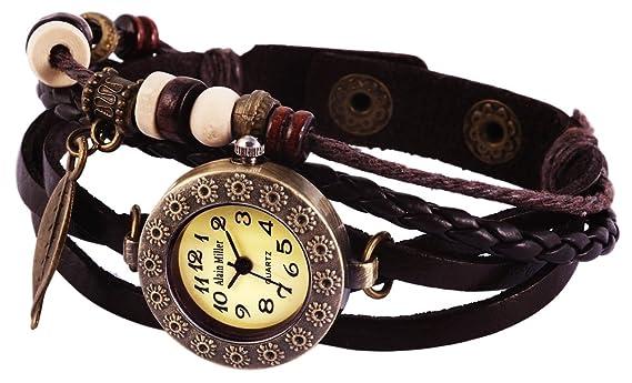 Alain Miller Reloj Analógico para Mujer de Cuarzo con Correa en Cuero 1900134-001: Amazon.es: Relojes