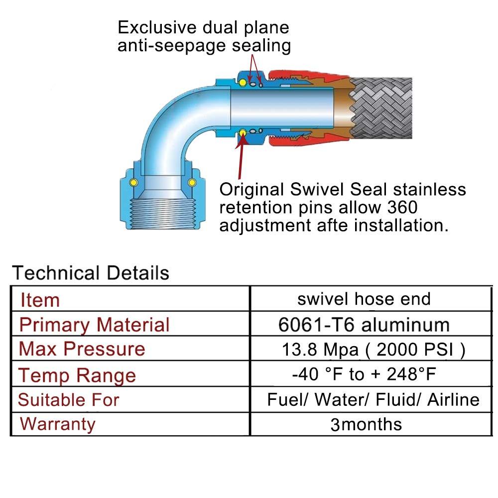 EVIL ENERGY 4AN 180 Degree Swivel Hose End Fitting for braided fuel line Aluminum Alloy black