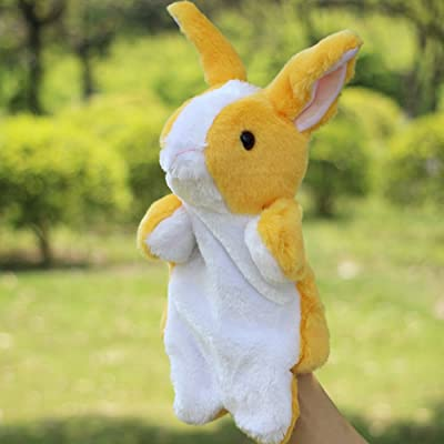 shlutesoy Cartoon Soft Rabbit Hand Puppets Stuffed Plush Toys Children's Dolls Gift Education Toy Pillow Yellow: Home & Kitchen