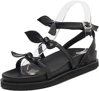 MNII Femmes Sandales Mode Bow Tie Summer Toe Strapscasual Flat Shoes- Mode d'été- Sommermode