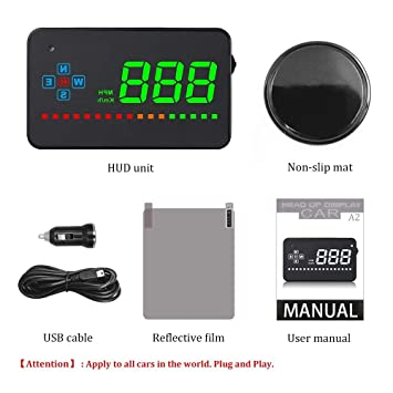 KUFNINE Car Hud Compatible con Todos los proyectores de Velocidad de Coche GPS Digital Coche Velocímetro A2 Electronics Head Up Display Parabrisas proyector ...