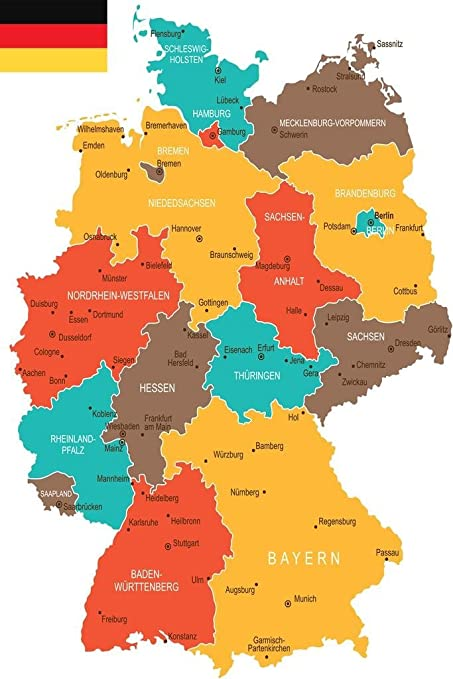 Map Of Germany To Print.Amazon Com Geographical Map Of Germany Art Print Poster 24x36 Inch