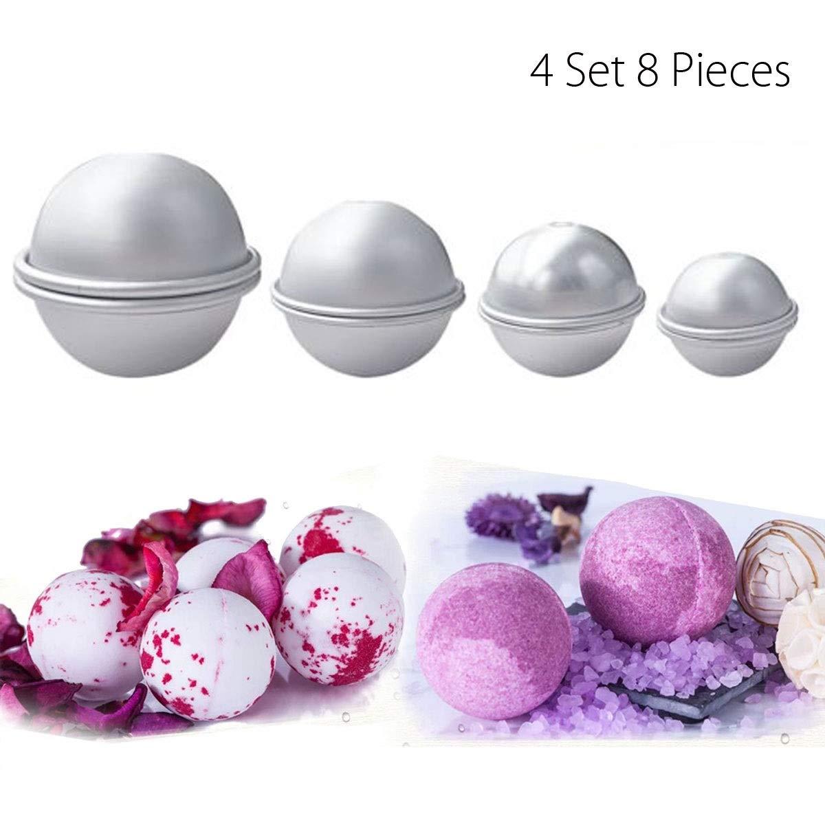 Yannay qualità Stampi Bomb Bath, 4 Set 8 Pezzi di Sapone Fai da Te in Alluminio Fai da Te Stampo bomboni Fatti in casa per la Festa o Il Natale