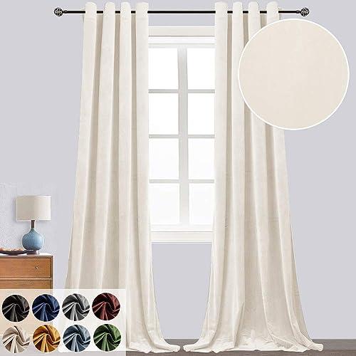 Super Soft Velvet Curtains for Living Room Light Blocking Velvet Curtain Panels Privacy Grommet Window Drapes for Bedroom Sliding Glass Door, 2 Panels Cream Beige, 52W108L