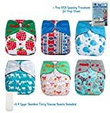 6 Pack Bundle HappyEndings Micro Fleece/ Charcoal Bamboo All In One Diaper AIO (+Pocket & 6pcs Insert, RLR) -Girl