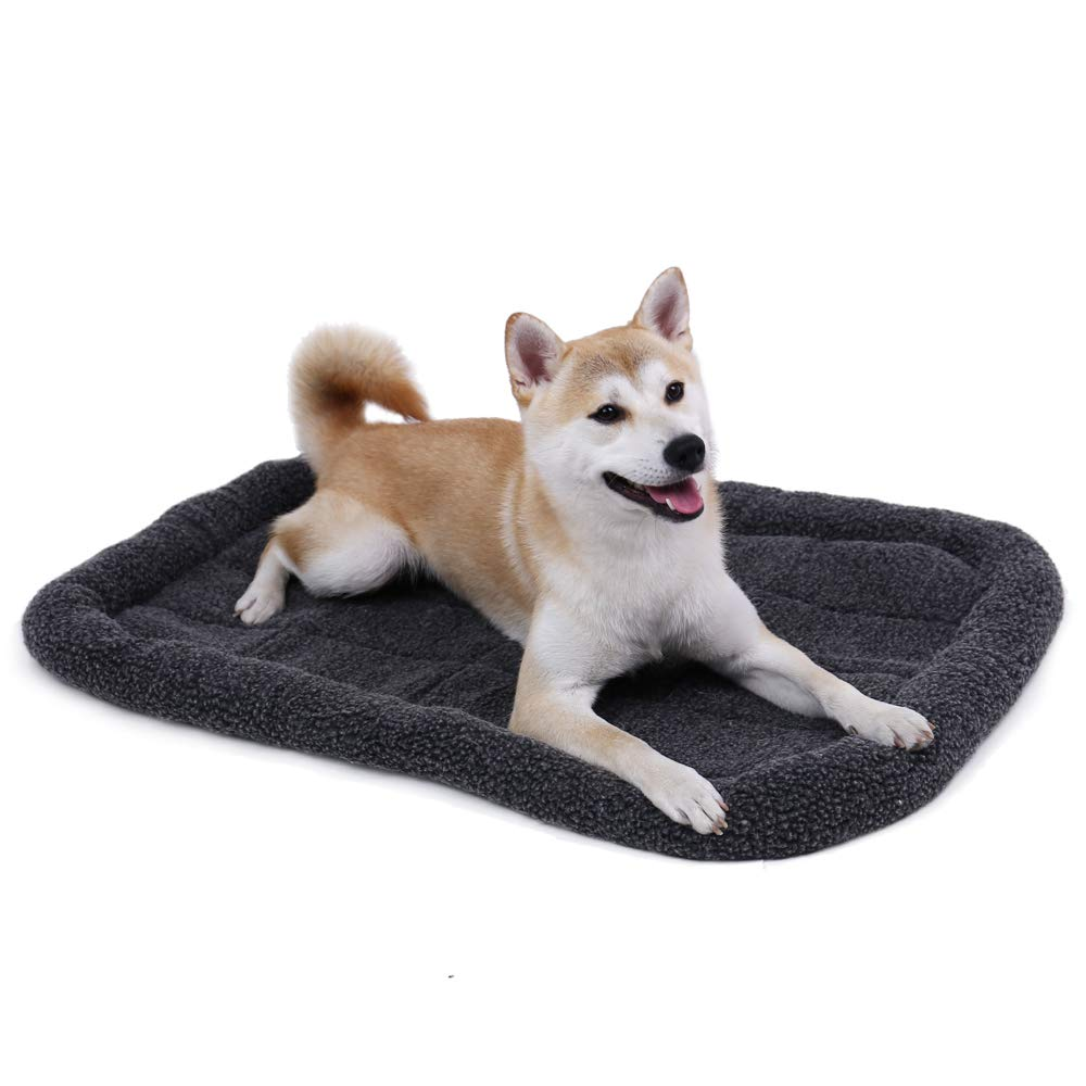 Speedy Pet Dog Cat Bed Padded, Winter Warm Faux Lambswool Sleeping Cushion Mats Soft Puppy Cat Bolster Bed Crate or Kennel Pad Grey L