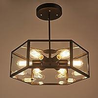 Crayom Lámpara de Techo de Vidrio Hexagonal Retro