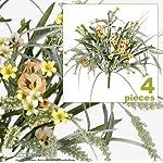 FOUR-17-Pansy-Astilbe-Mixed-Artificial-Flower-Grass-Arrangement-Peach-Yellow