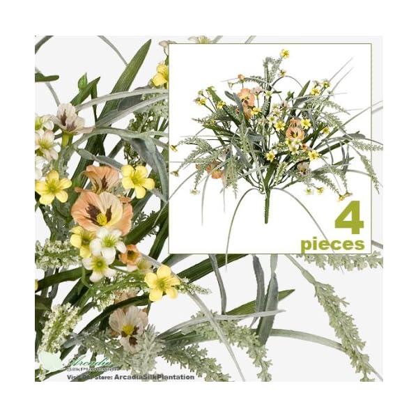 FOUR 17″ Pansy Astilbe Mixed Artificial Flower Grass Arrangement _Peach Yellow
