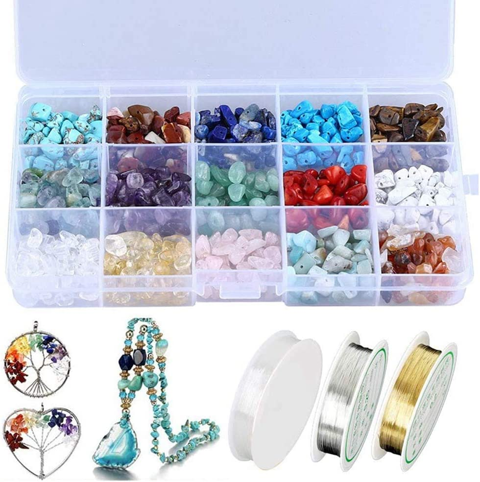Andifany Kit de Cuentas de Piedra Irregulares de Chips de Cristal Natural con Alambre de Metal y Cuerda Elástica para Manualidades de Fabricación de Joyas