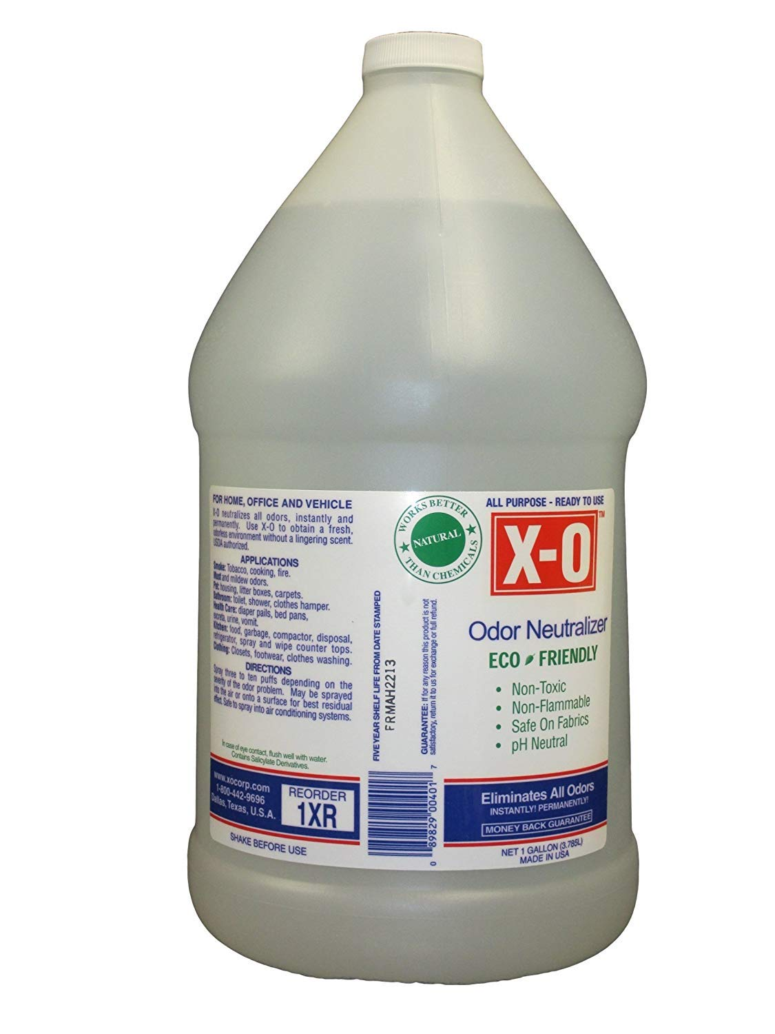 XO Plus Odor Neutralizer/Cleaner Concentrated (32oz, 1gallon, 5gallons) - All-Natural Odor Neutralizer Deodorizer, 1-Gallon, Clear