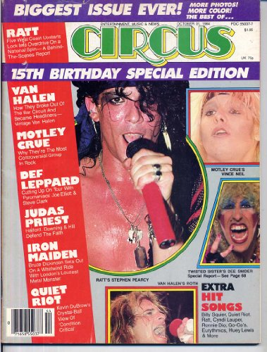 Circus Magazine 15TH BIRTHDAY Van Halen RATT Motley Crue TWISTED SISTER Iron Maiden BON JOVI October 31, 1984 C (Circus Magazine)