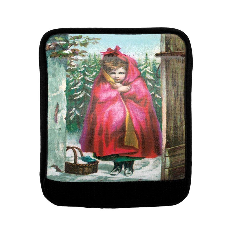 Girl In Red Blanket Old Vintage Poster Luggage Handle Wrap Finder