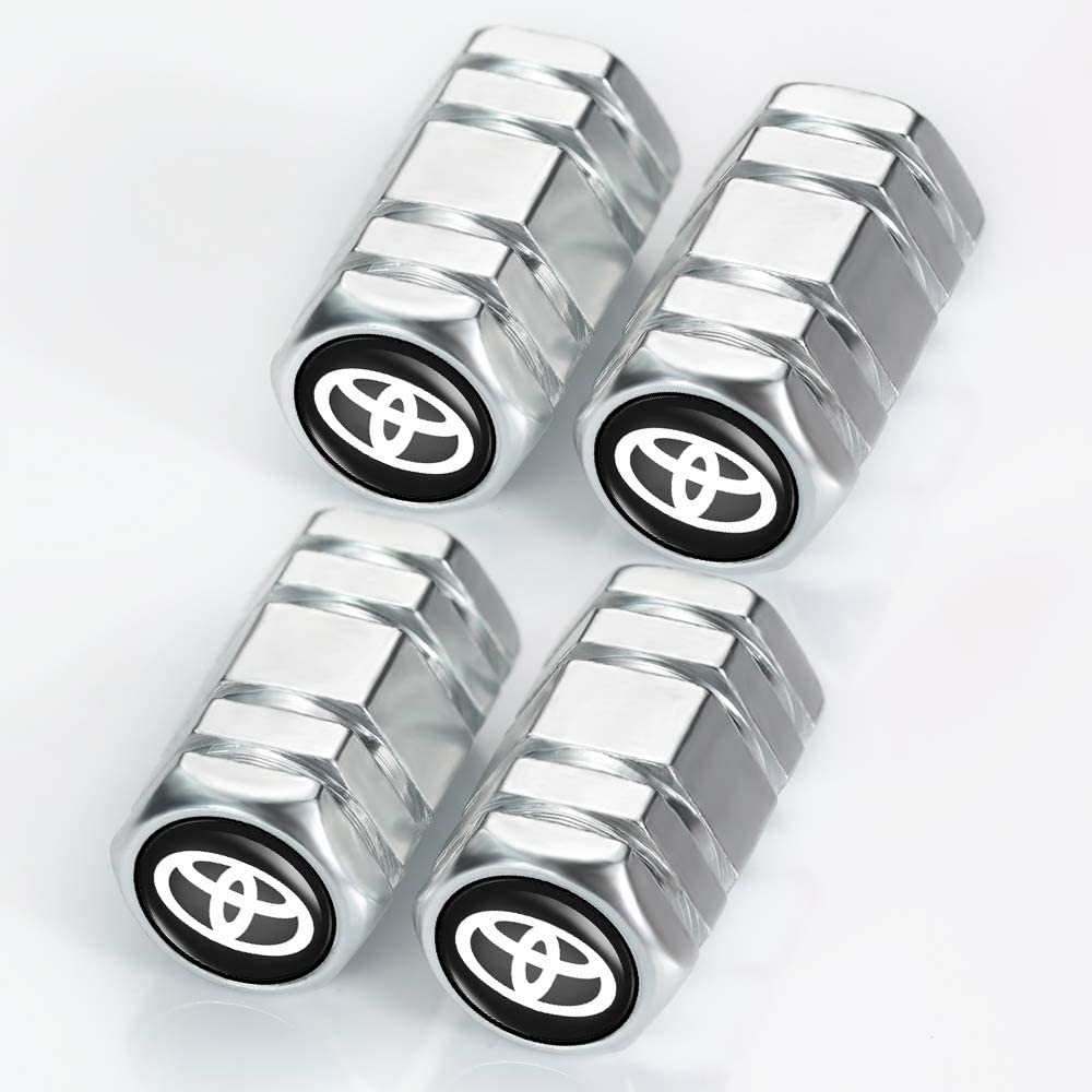 Tacoma Supercharger 4runner Camry Highlander Avalon with Logo Styling Decoration N//A 4Pcs Metal Car Wheel Tire Valve Stem Caps for Toyota TRD Fj Cruiser Tundra