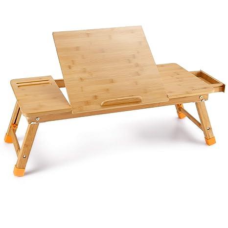 Nnewvante Mesa de Ordenador Portátil Mano Derecha-Izquierda 71 * 35cm Mesa de Cama Ajustable Bambú Desayuno Plegable Sirviendo Bandeja de Gran Tamaño ...