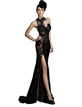 fenghuavip Black Lace Slit Prom Dresses Mermaid Beading Evening Formal Party Gowns (2)
